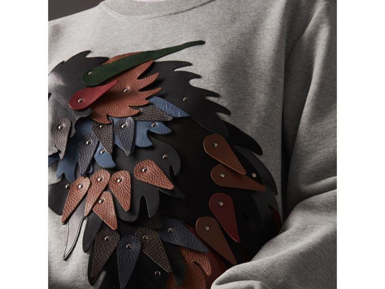 Unisex Beasts Leather Appliqué Cotton Sweatshirt in Pale Grey Melange - Women | Burberry - cell image 1