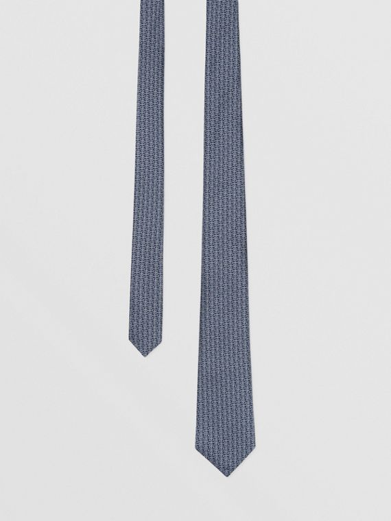 Classic Cut Monogram Silk Jacquard Tie in Sky Blue