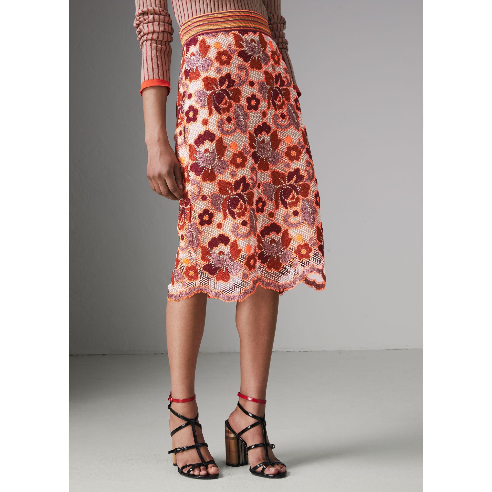 Floral Crochet Fitted Skirt in Bright Orange - Women | Burberry - gallery image 4