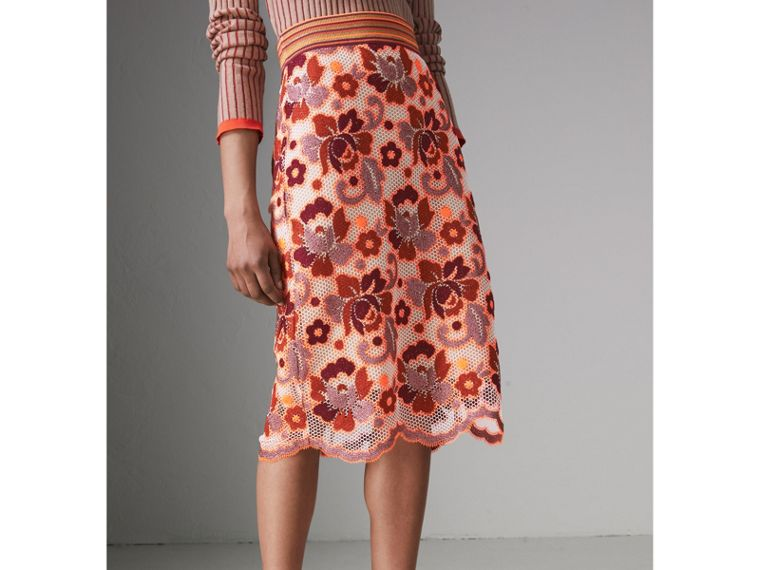 Floral Crochet Fitted Skirt in Bright Orange - Women | Burberry - cell image 4