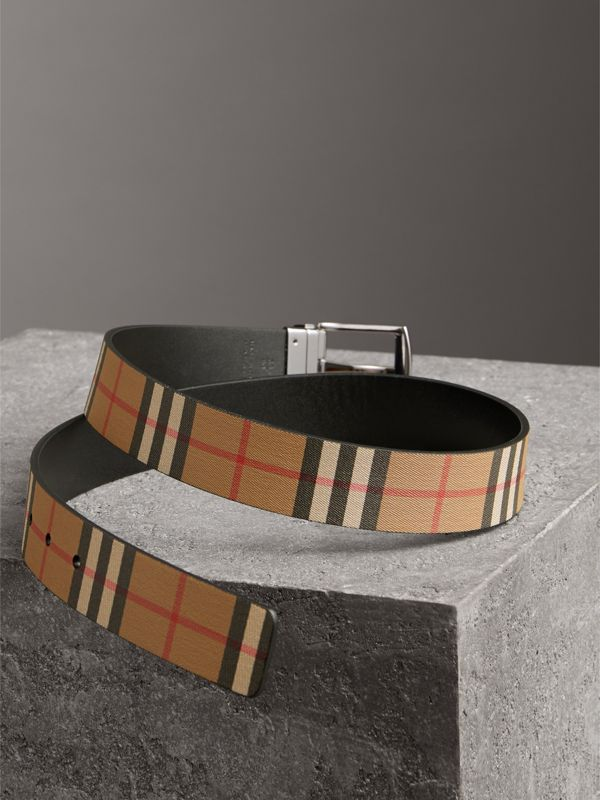 Reversible Vintage Check Leather Belt in Black - Men | Burberry - cell image 2