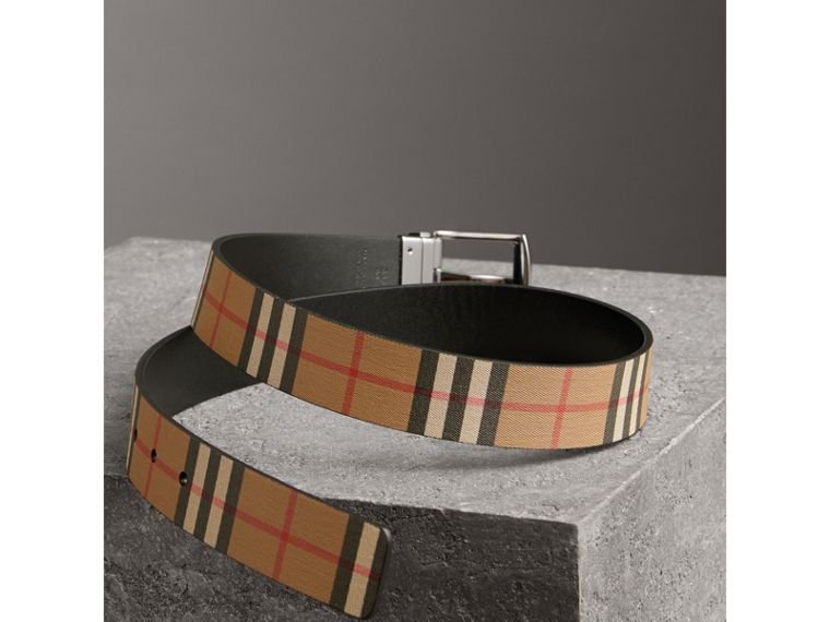 Reversible Vintage Check Leather Belt in Black - Men | Burberry Australia - cell image 2