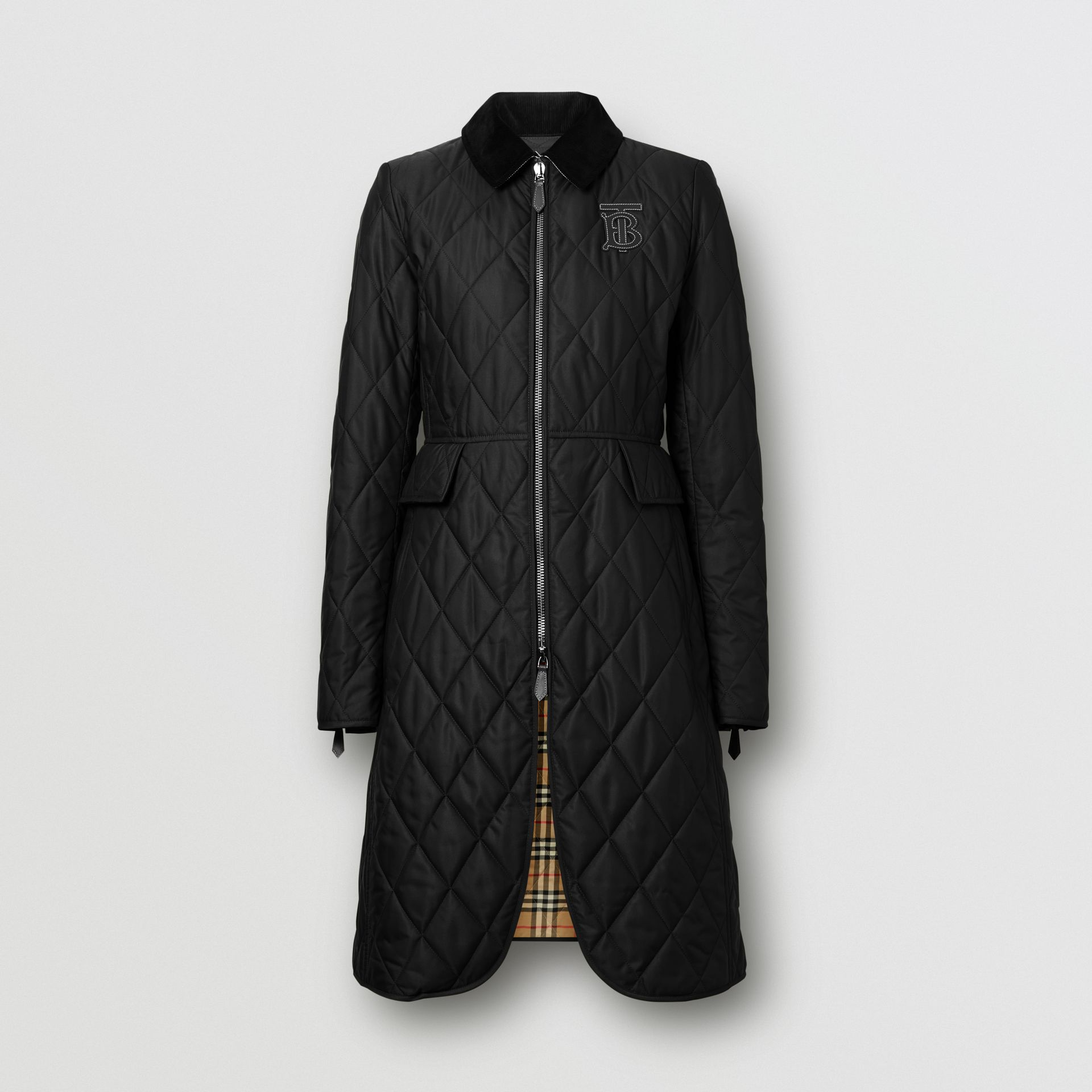 Monogram Motif Quilted Riding Coat in Black - Women | Burberry United Kingdom - gallery image 3