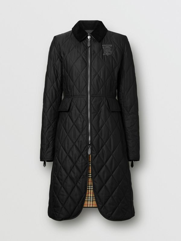 Monogram Motif Quilted Riding Coat in Black - Women | Burberry - cell image 3