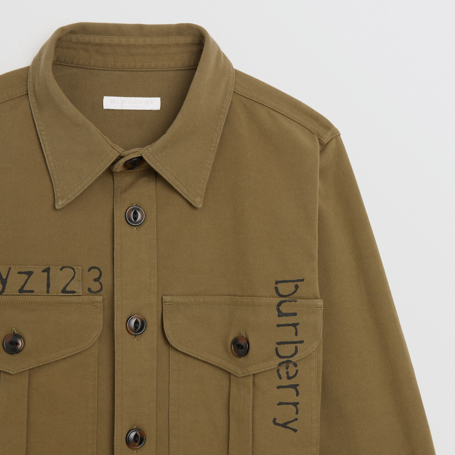 Stencil Print Cotton Wool Army Shirt in Olive | Burberry - gallery image 4