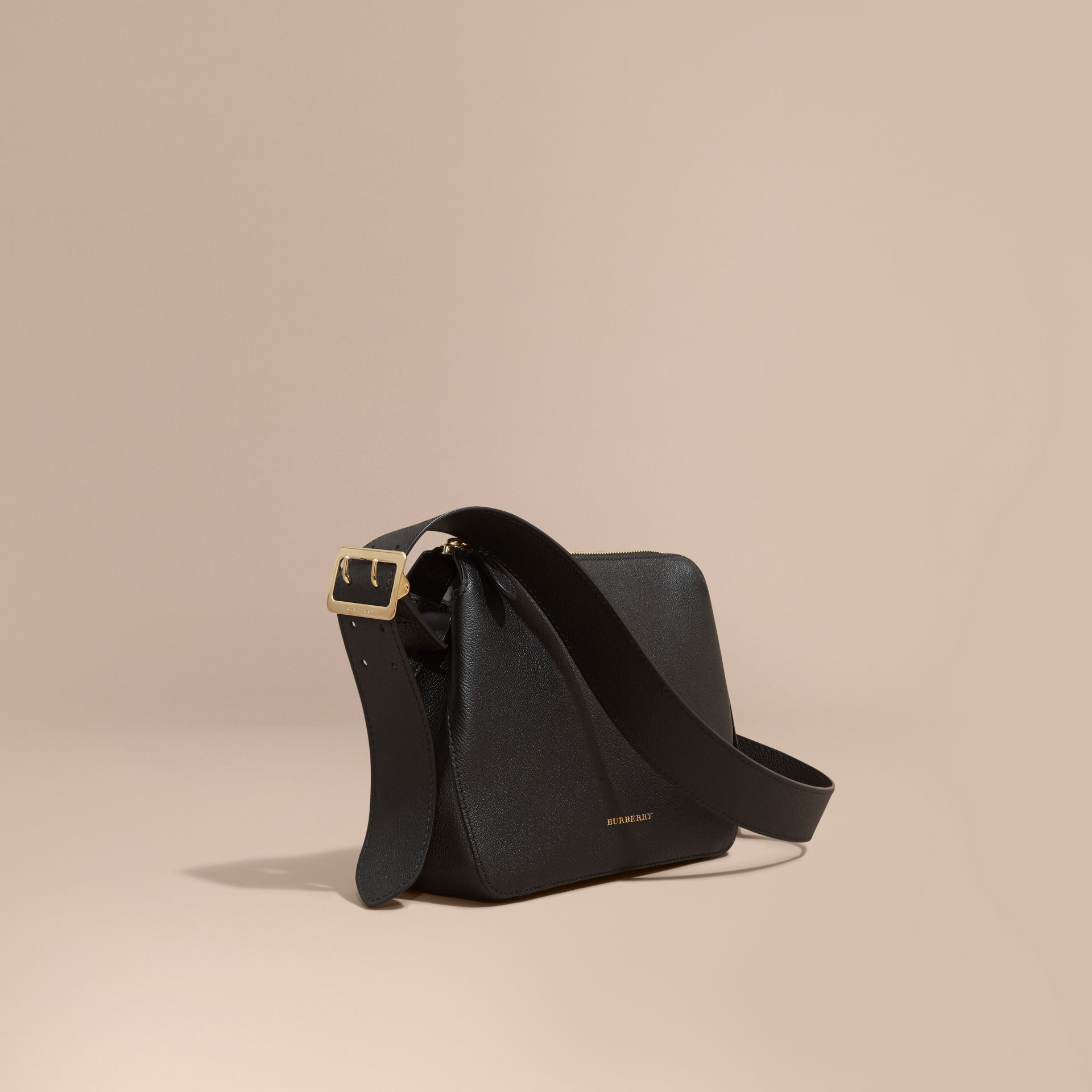 Black Buckle Detail Leather Crossbody Bag Black - gallery image 1