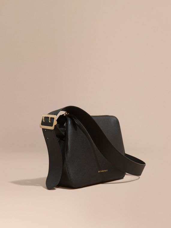 Buckle Detail Leather Crossbody Bag Black