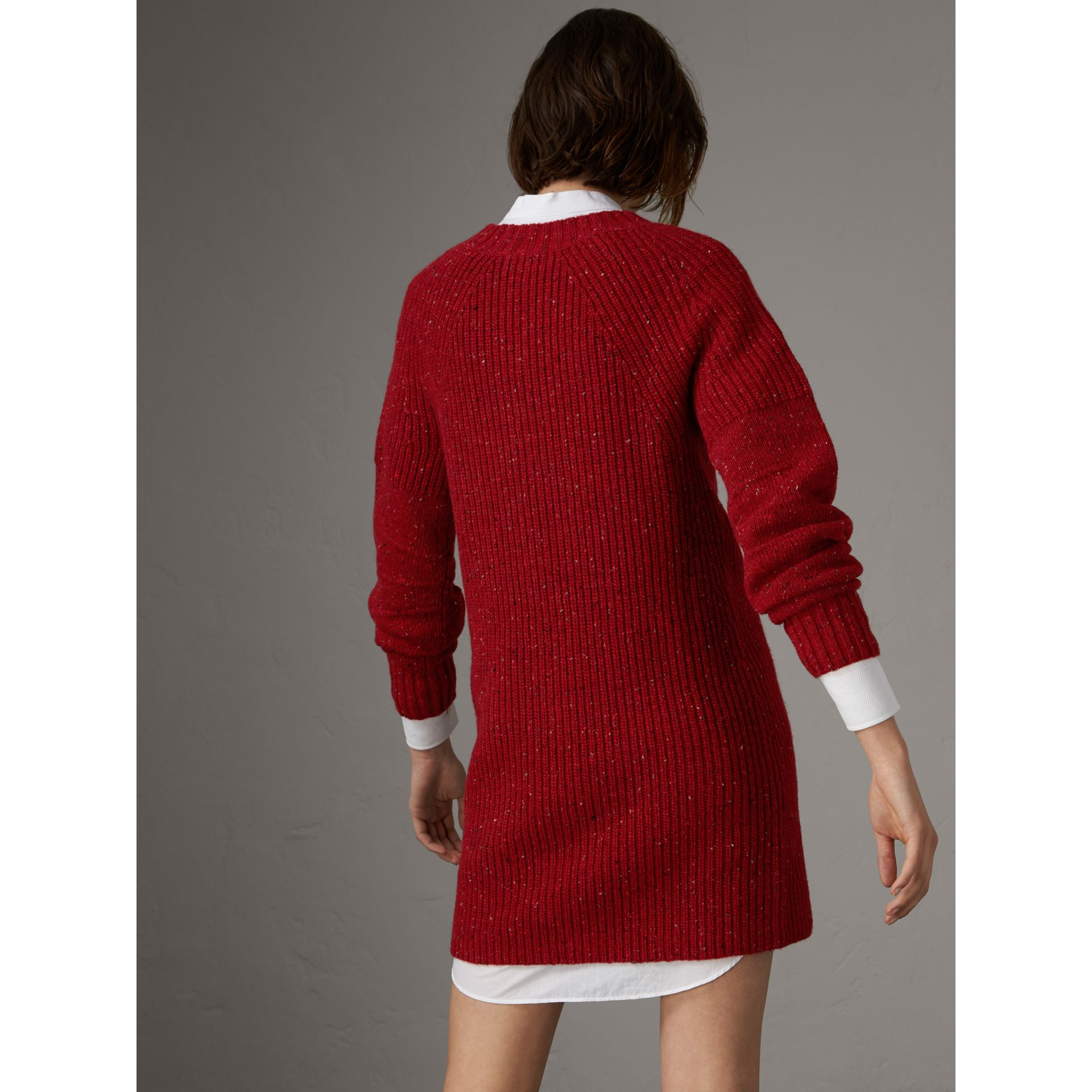 Rib Knit Wool Cashmere Mohair Sweater Dress in Coral Red - Women | Burberry - gallery image 2