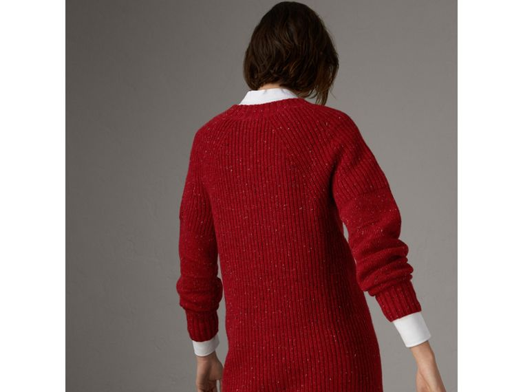 Rib Knit Wool Cashmere Mohair Sweater Dress in Coral Red - Women | Burberry - cell image 1