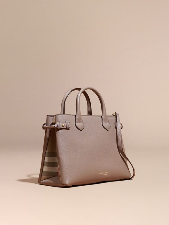 Sac The Banner medium en cuir et coton House check Gris Chardon