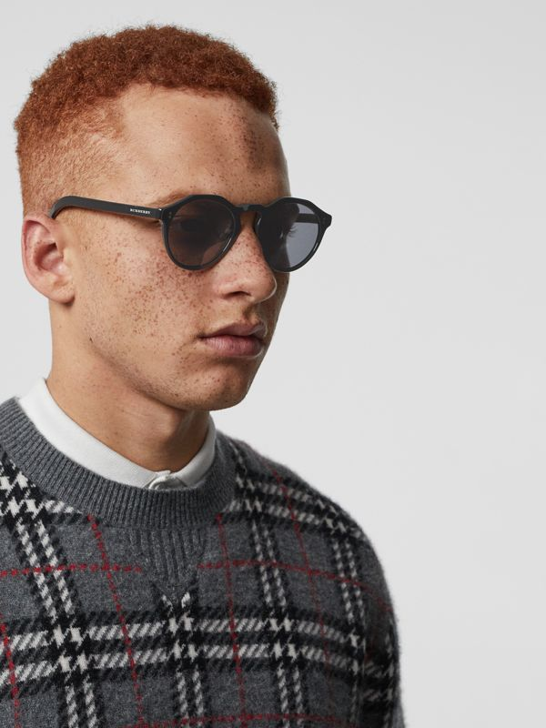Vintage Check Detail Round Frame Sunglasses in Black - Men | Burberry - cell image 2