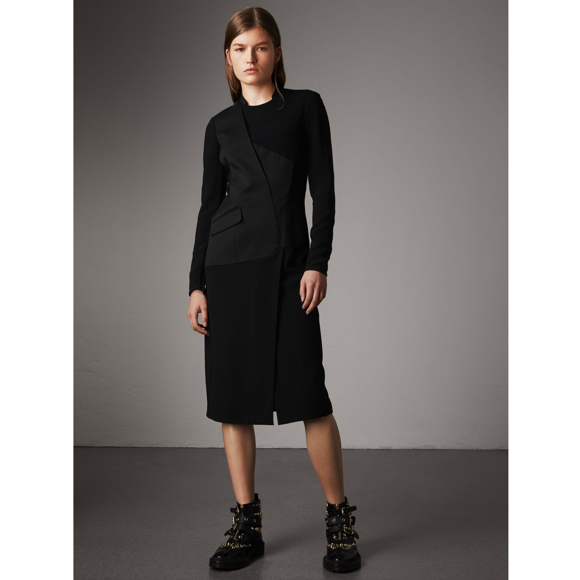 Tailored Panel Crepe and Wool Dress in Black - Women | Burberry - gallery image 1