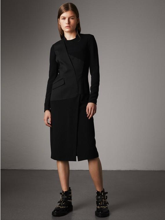 Vestido elegante en crepé y lana a paneles (Negro)
