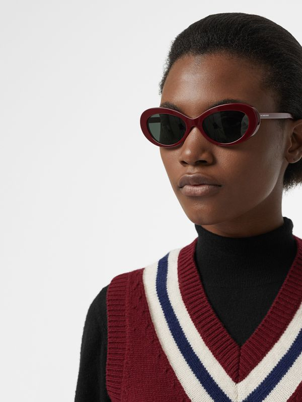 Cat-eye Frame Sunglasses in Burgundy - Women | Burberry - cell image 2