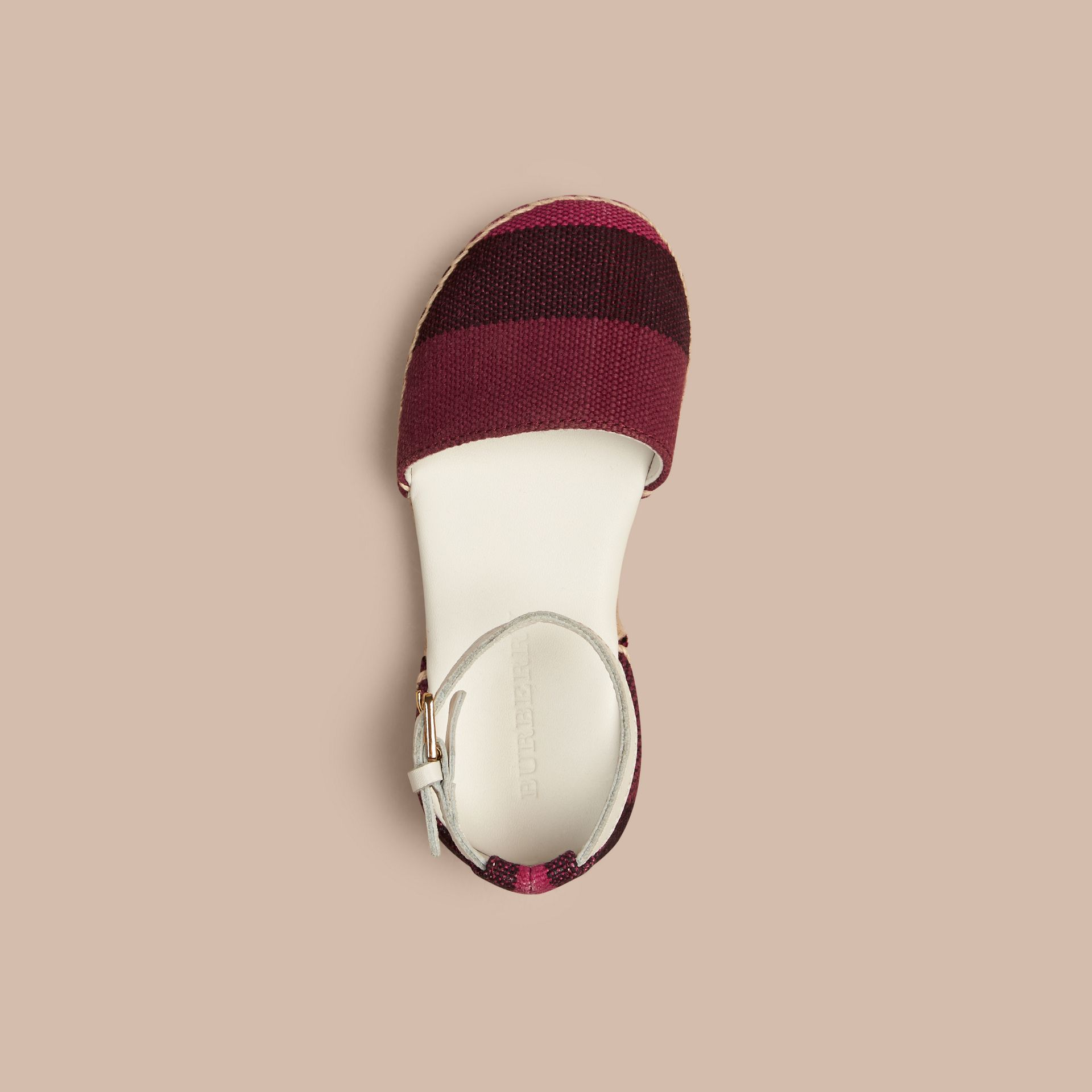Plum Canvas Check Espadrille Sandals - gallery image 2