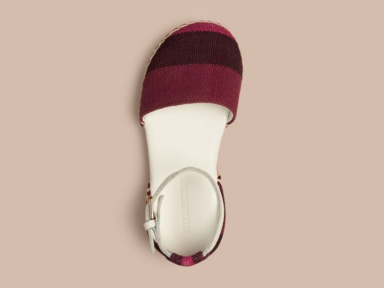 Plum Canvas Check Espadrille Sandals - cell image 1