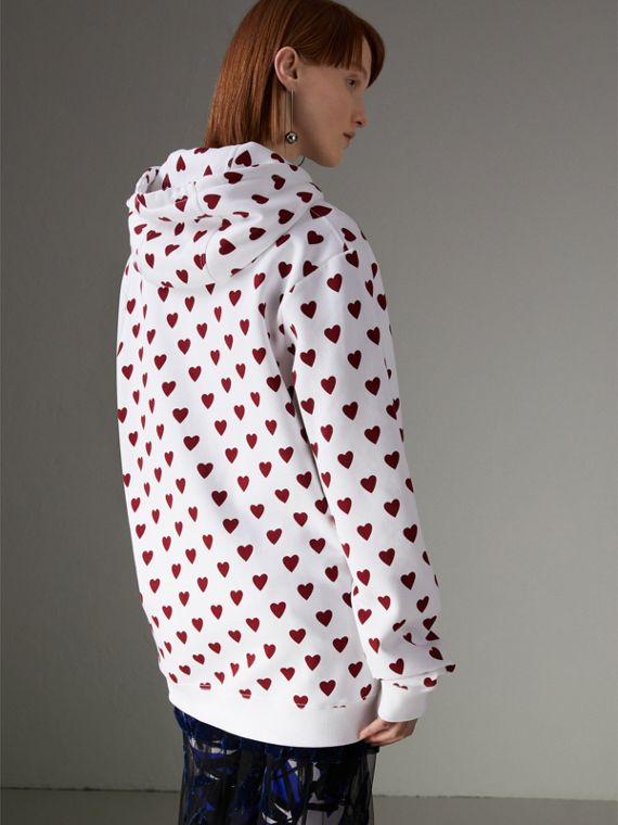 Heart Print Hoodie in Windsor Red - Women | Burberry United Kingdom - cell image 2