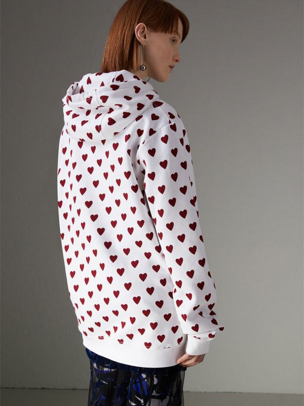 Heart Print Hoodie in Windsor Red - Women | Burberry United States - cell image 2