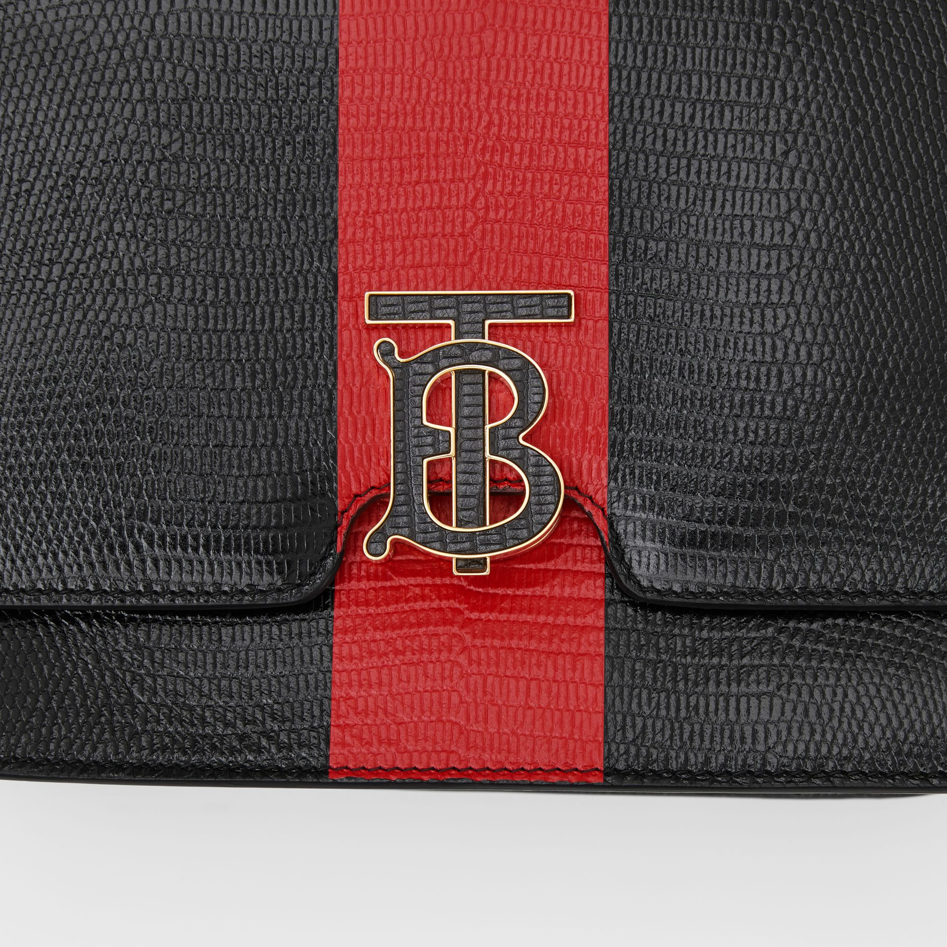 Medium Striped Embossed Leather TB Bag in Black - Women | Burberry United States - gallery image 1