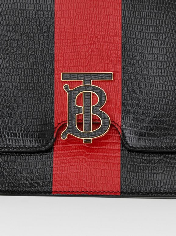 Medium Striped Embossed Leather TB Bag in Black - Women | Burberry United States - cell image 1