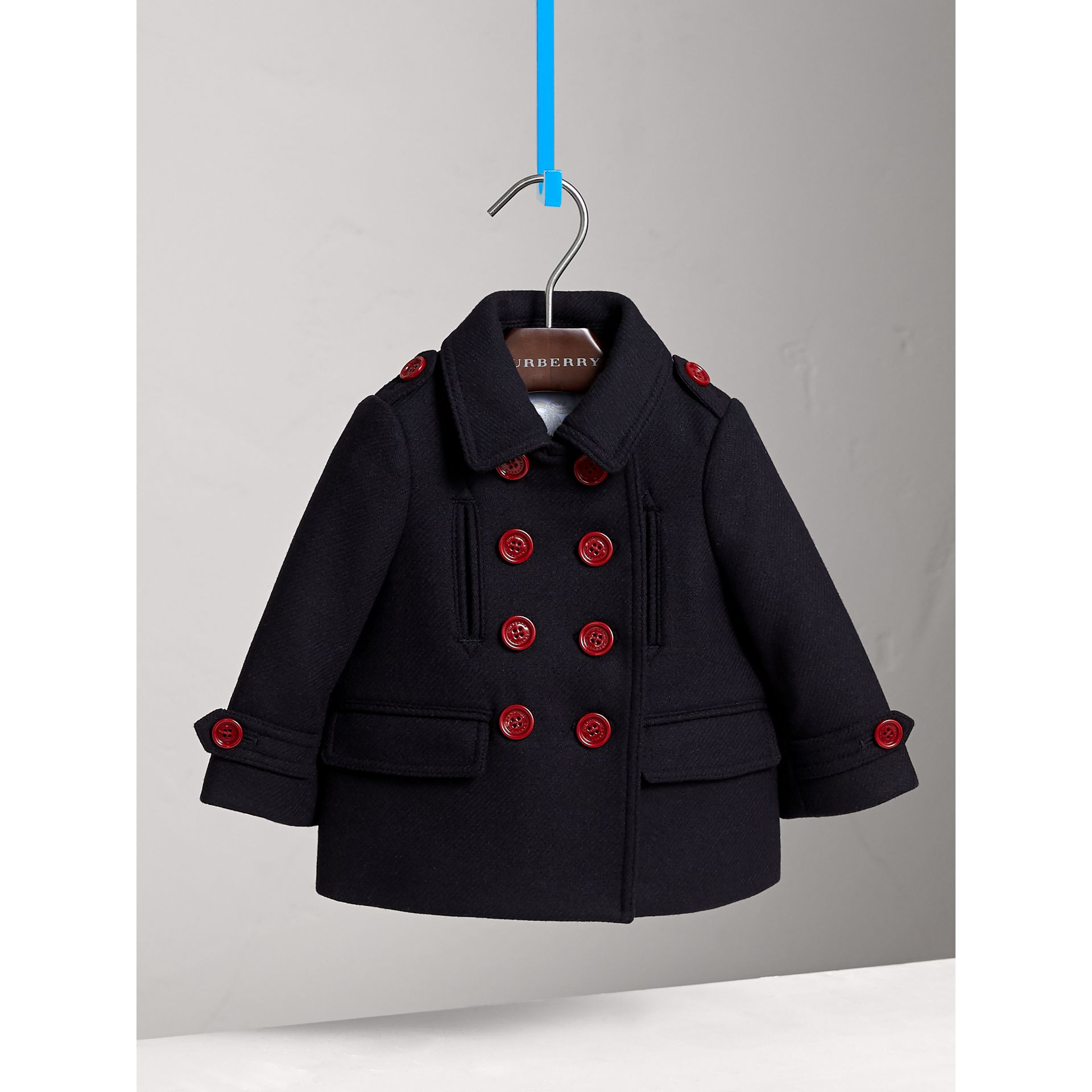 Resin Button Wool Cashmere Blend Pea Coat in Navy | Burberry - gallery image 3
