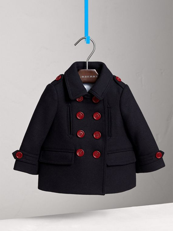 Resin Button Wool Cashmere Blend Pea Coat in Navy | Burberry - cell image 2