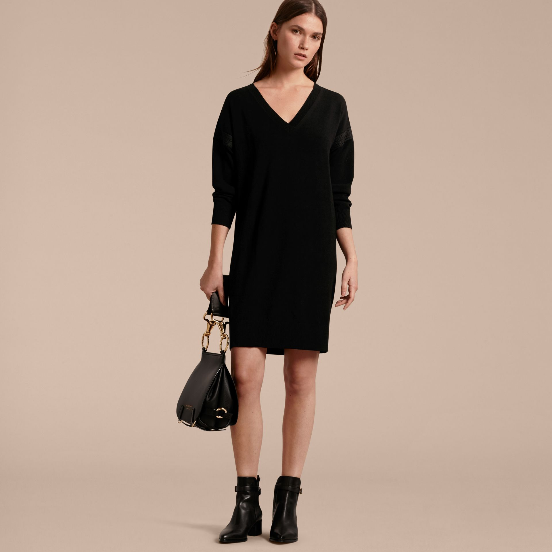 Black Lace-trimmed Merino Wool Dress - gallery image 6