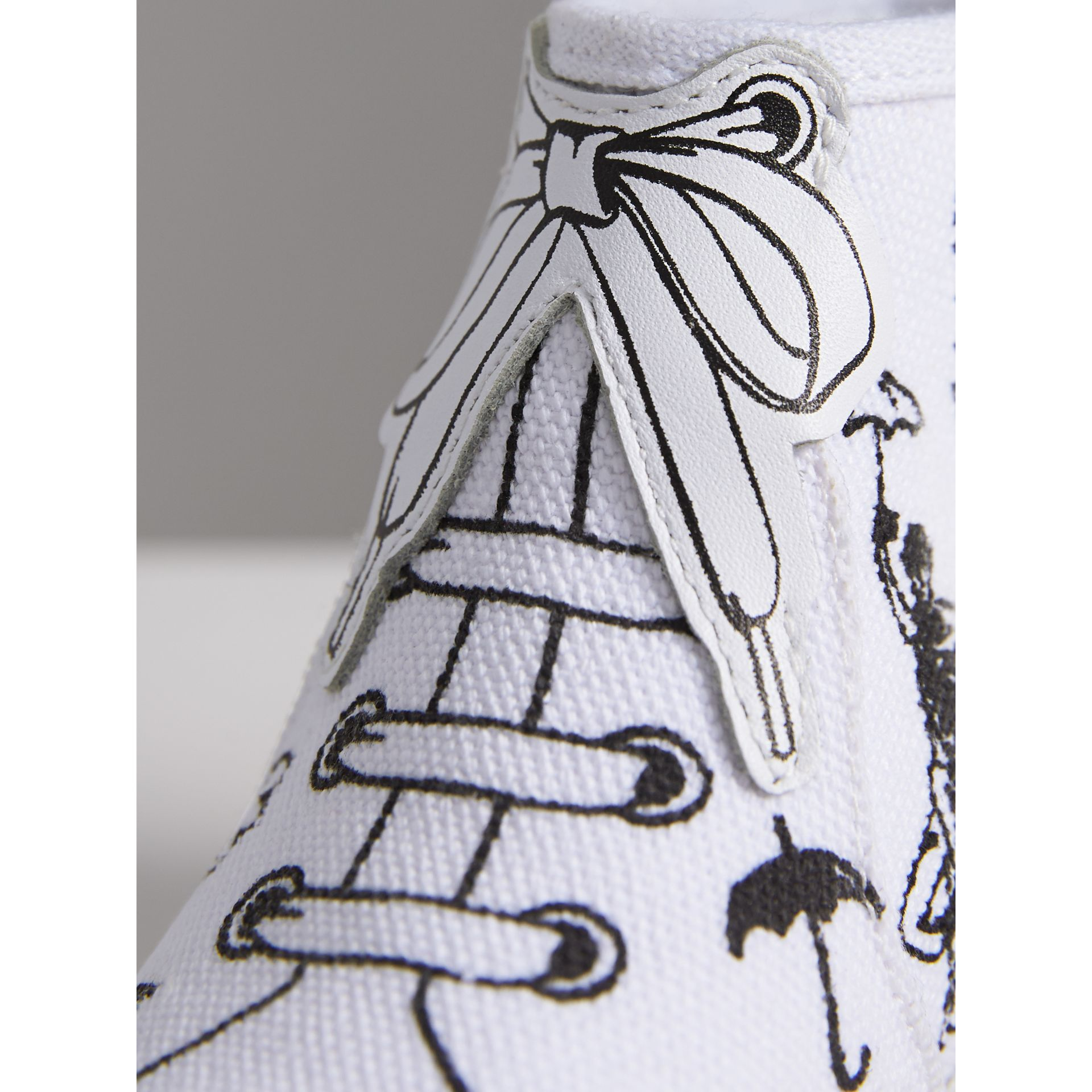 Doodle Print High-top Trainers in Optic White | Burberry - gallery image 2