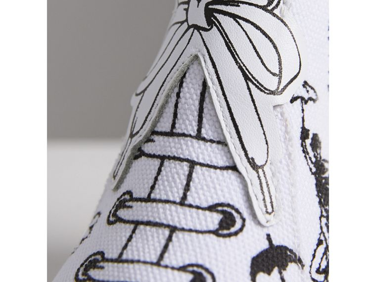 Doodle Print High-top Trainers in Optic White | Burberry - cell image 1