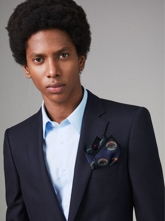 Archive Logo Print Silk Pocket Square in Navy - Men | Burberry Singapore - cell image 1