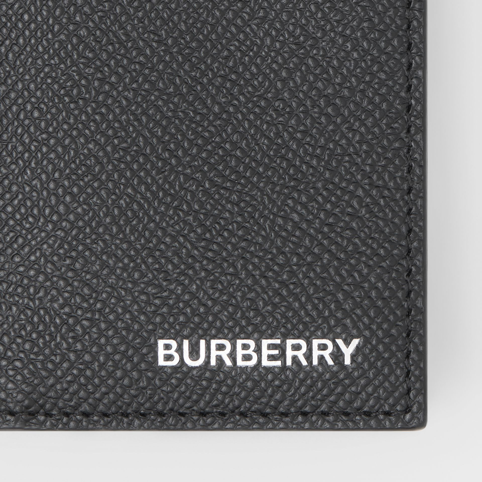 Grainy Leather Folding Card Case in Black - Men | Burberry - gallery image 1