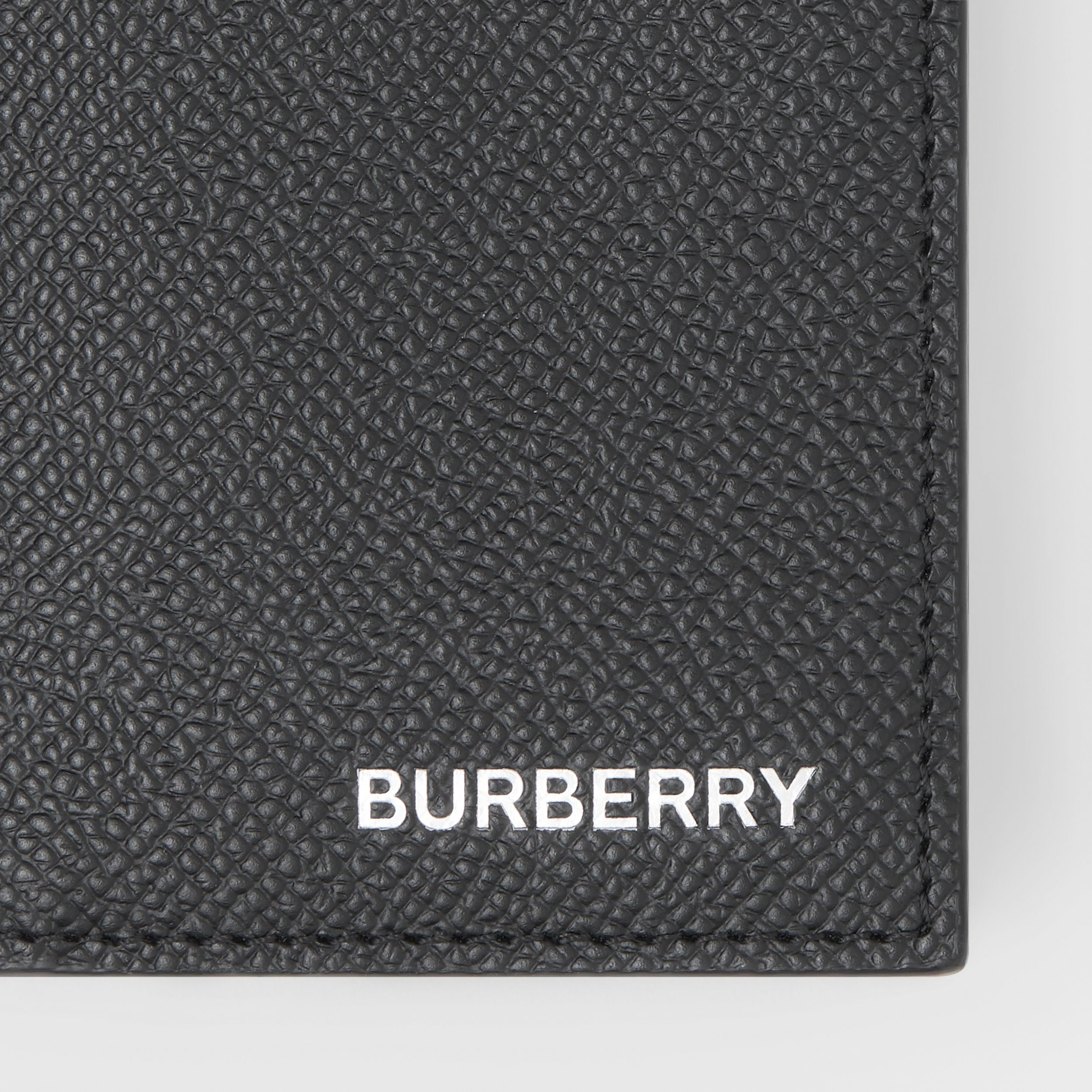 Grainy Leather Folding Card Case in Black - Men | Burberry - 2