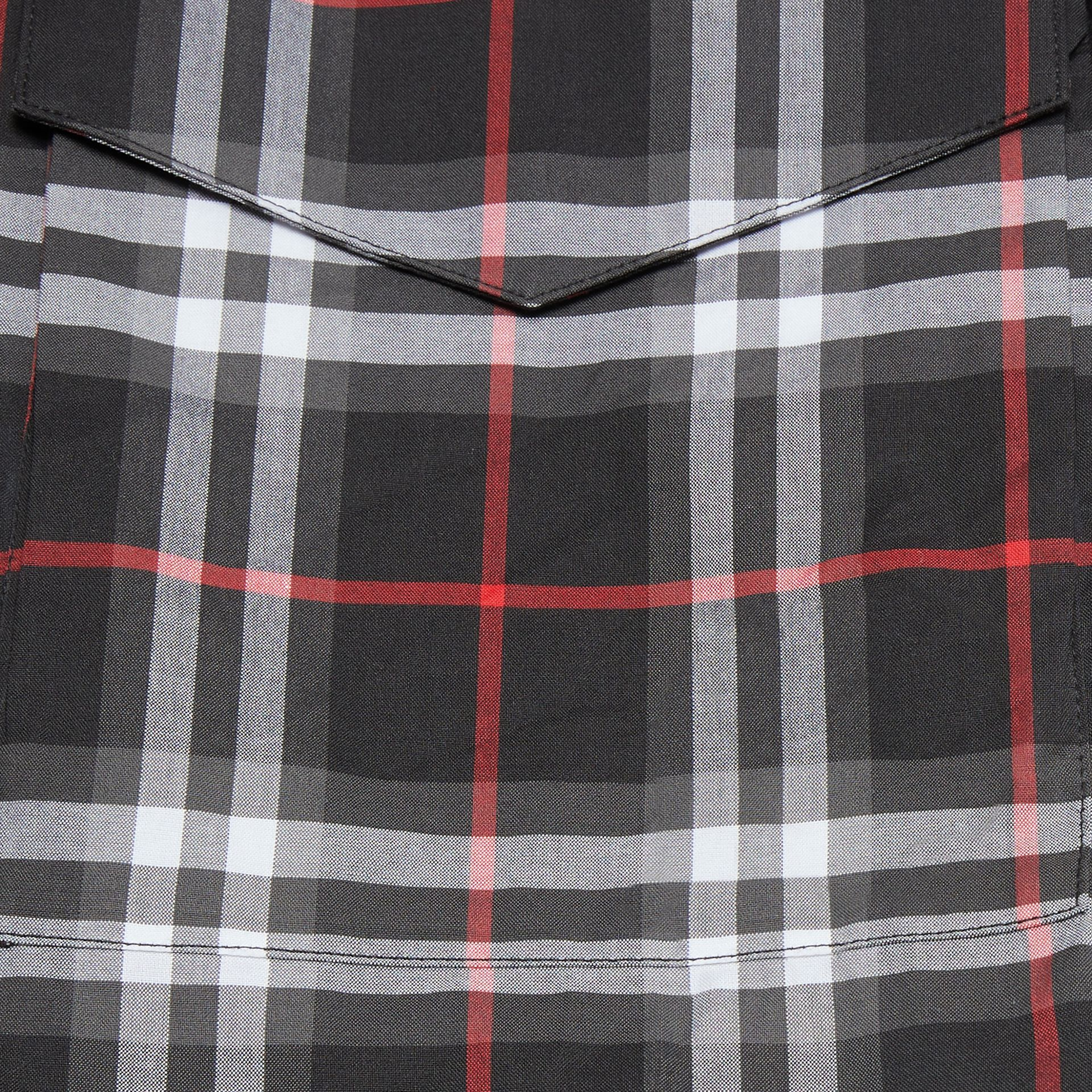Vintage Check Cotton Shirt Dress in Black | Burberry United States - gallery image 1