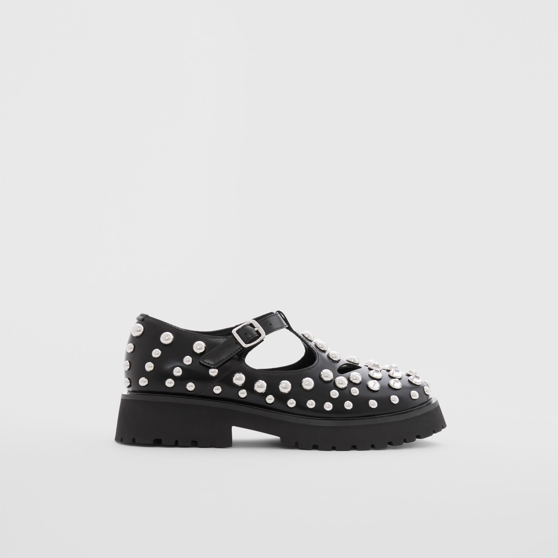 Studded Leather T-bar Shoes in Black - Children | Burberry - gallery image 3