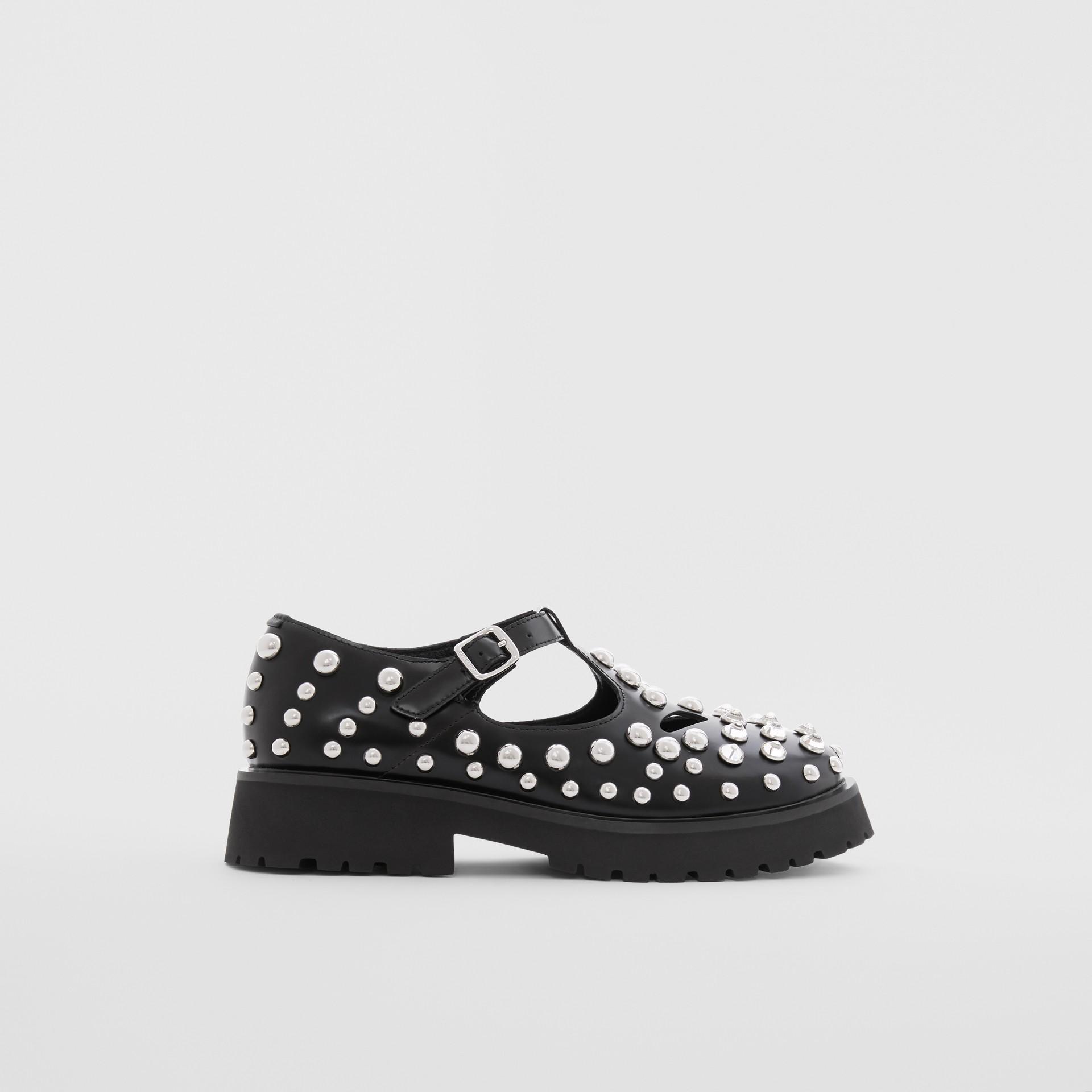 Sapatos de couro com tachas (Preto) - Crianças | Burberry - galeria de imagens 3