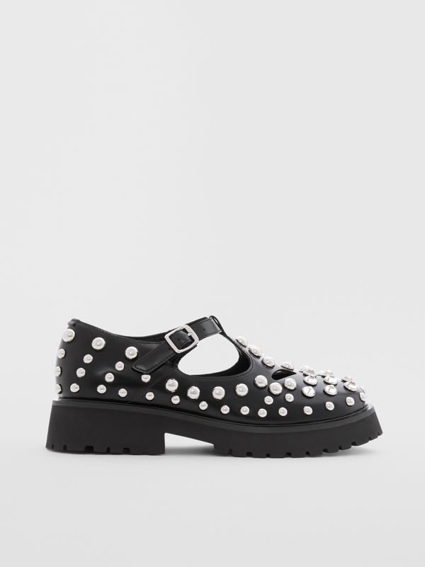 Studded Leather T-bar Shoes in Black - Children | Burberry - cell image 3