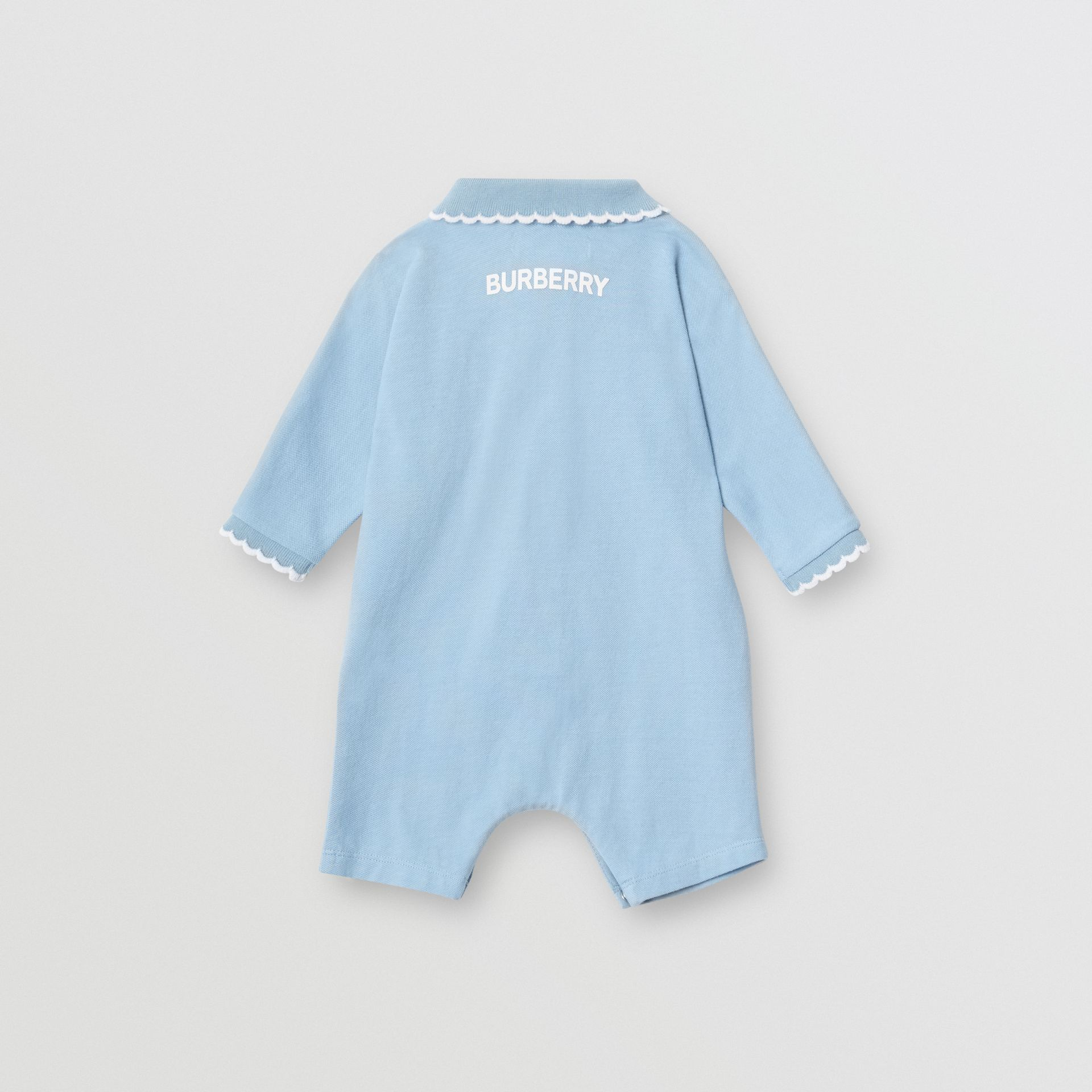 Logo Print Stretch Cotton Jumpsuit in Powder Blue - Children | Burberry - gallery image 3
