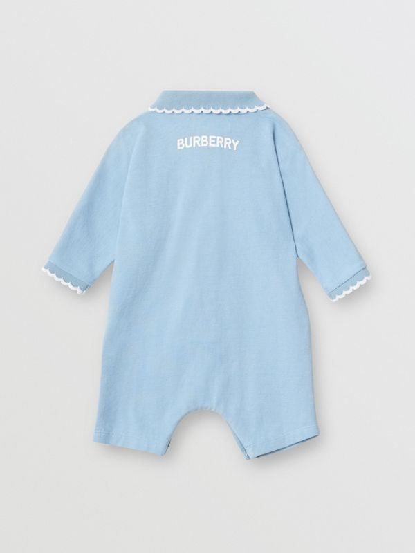 Logo Print Stretch Cotton Jumpsuit in Powder Blue - Children | Burberry Australia - cell image 3