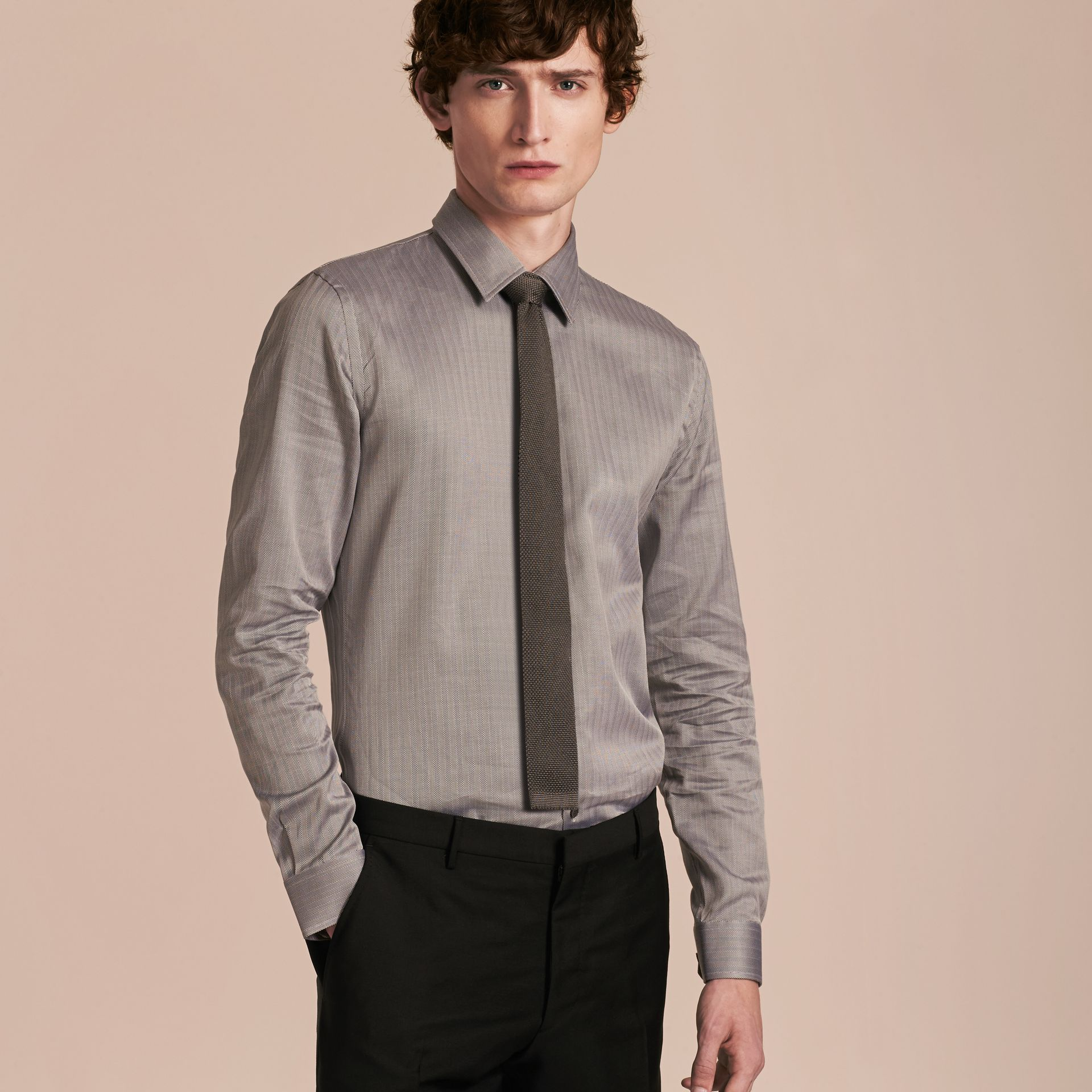 Black Slim Fit Herringbone Cotton Shirt Black - gallery image 6