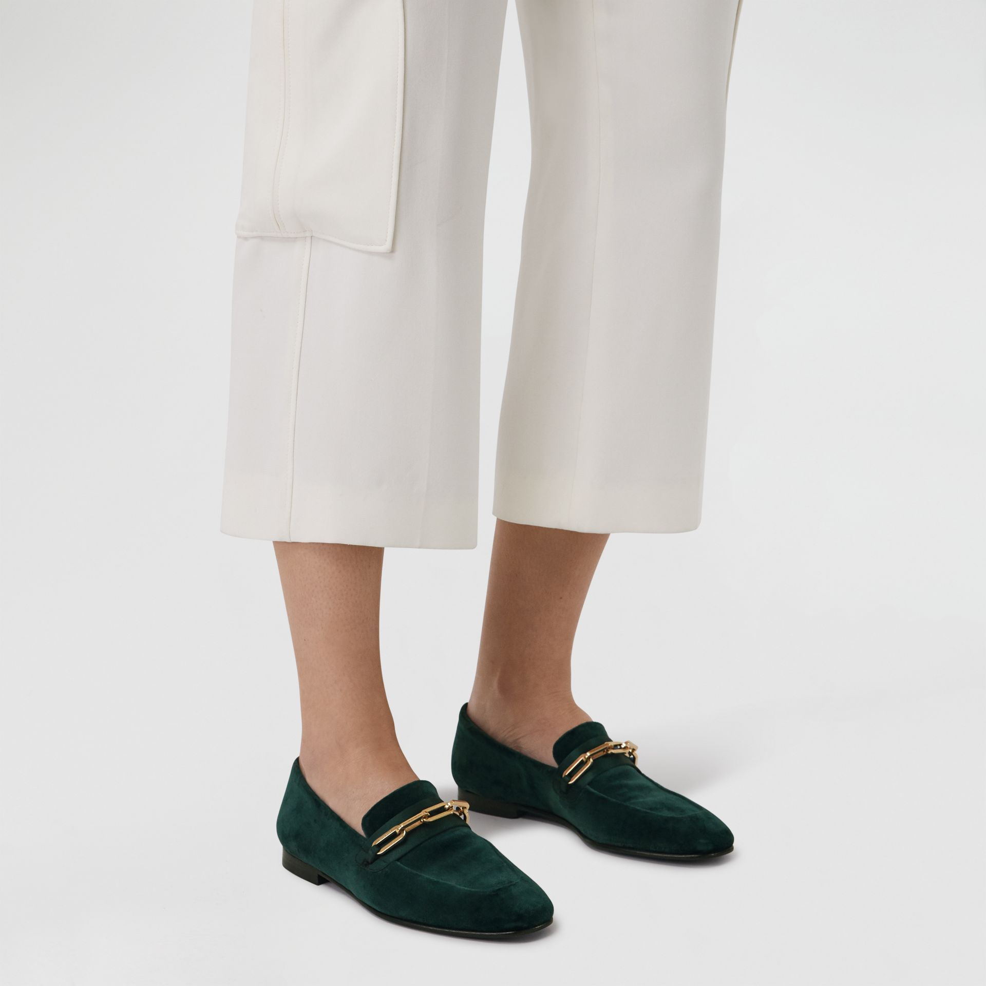Link Detail Velvet Loafers in Dark Forest Green - Women | Burberry United Kingdom - gallery image 2