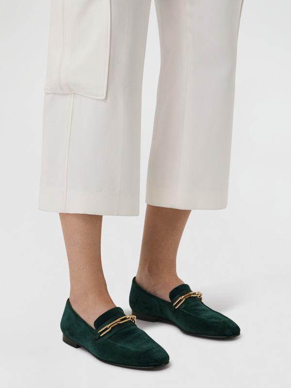 Link Detail Velvet Loafers in Dark Forest Green - Women | Burberry Australia - cell image 2