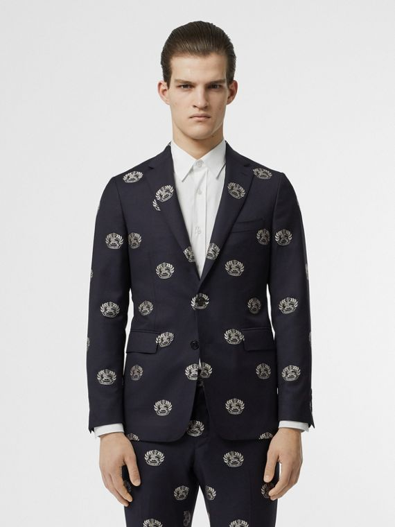 Slim Fit Fil Coupé Crest Wool Tailored Jacket in Midnight Blue