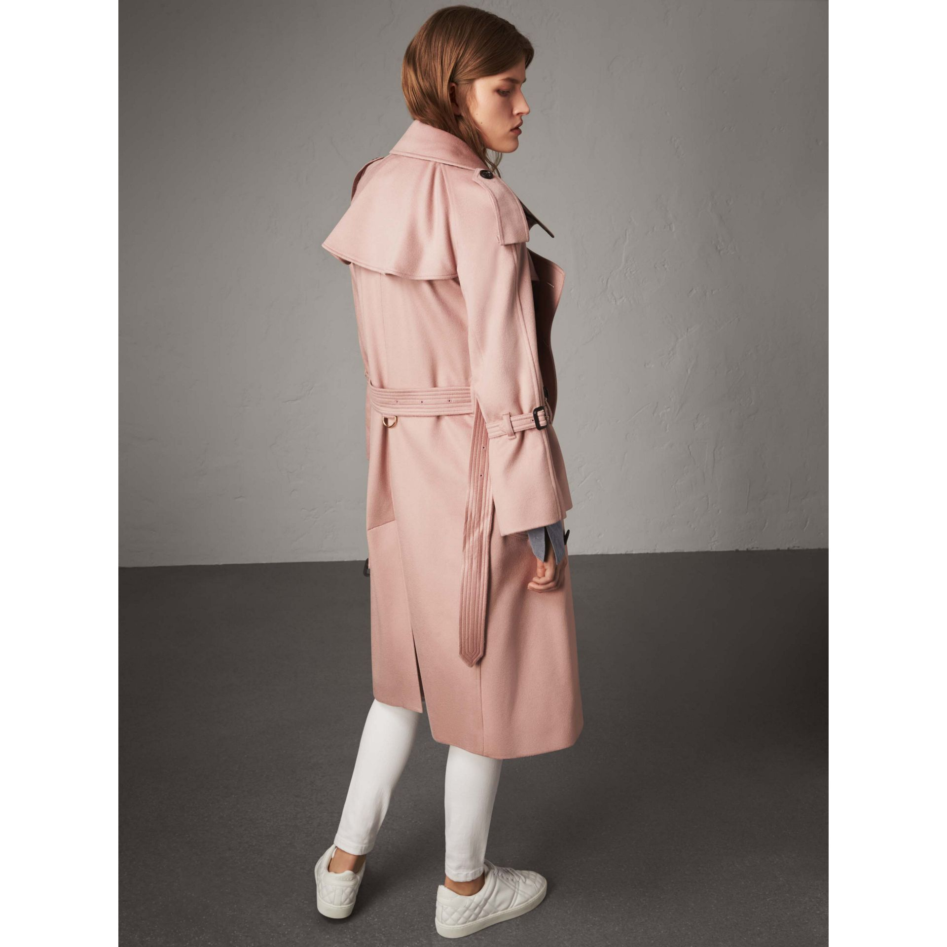 Ruffled Storm Shield Cashmere Trench Coat in Chalk Pink - Women | Burberry - gallery image 3