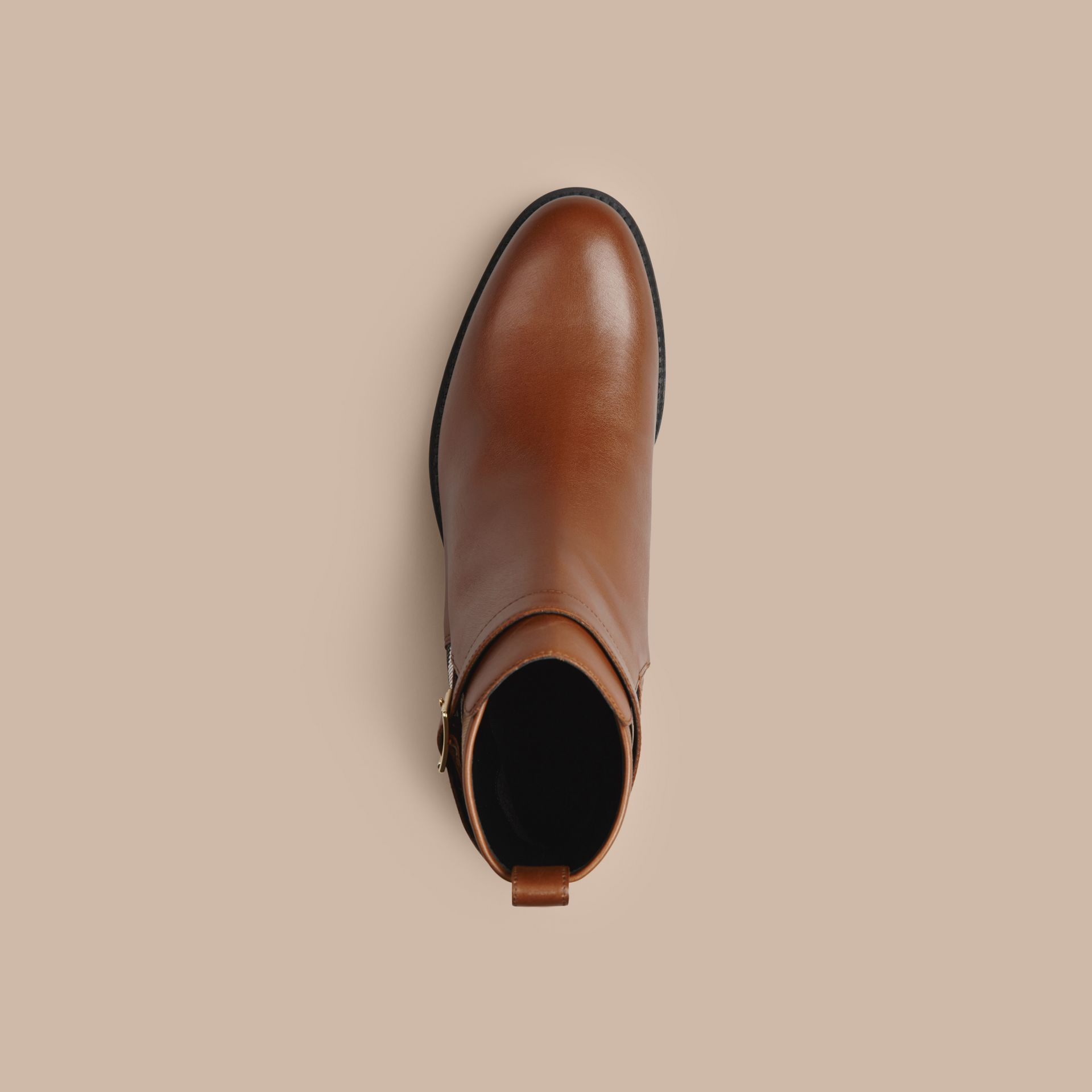 Chestnut House Check Leather Ankle Boots Chestnut - gallery image 3