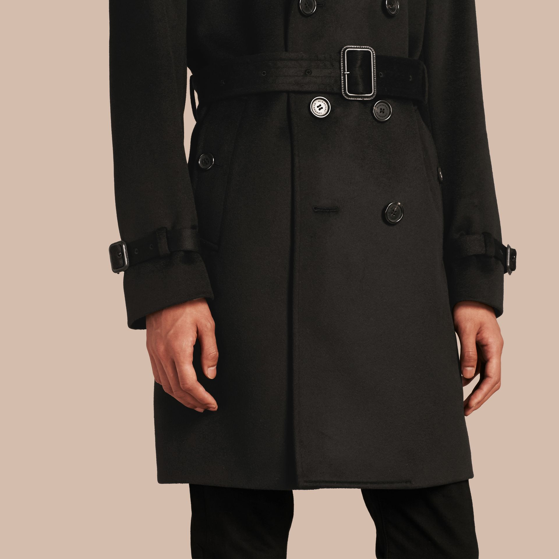 Black Cashmere Trench Coat Black - gallery image 5