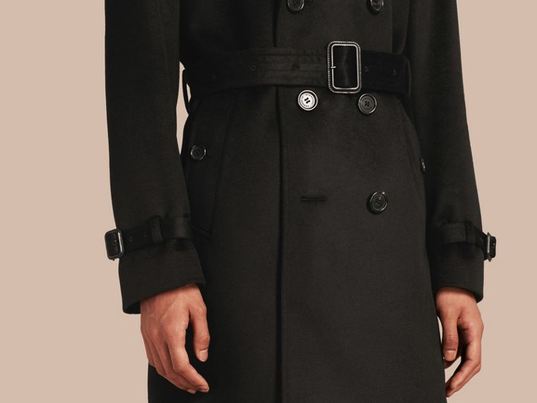 Trench coat in cashmere Nero - cell image 4