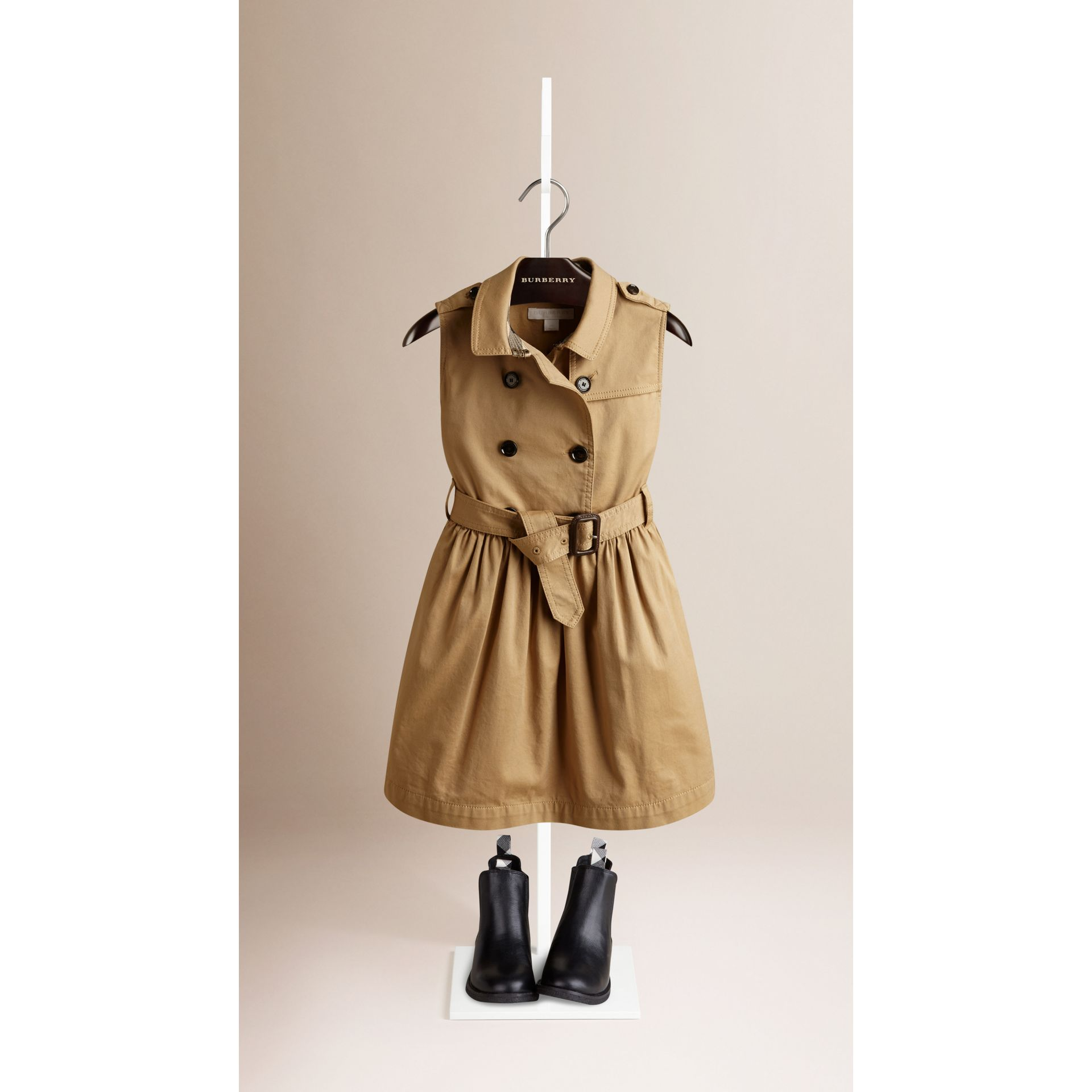 Sleeveless Stretch Cotton Trench Dress - gallery image 1