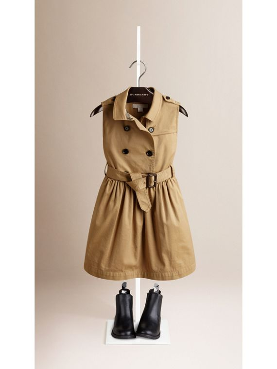 Sleeveless Stretch Cotton Trench Dress