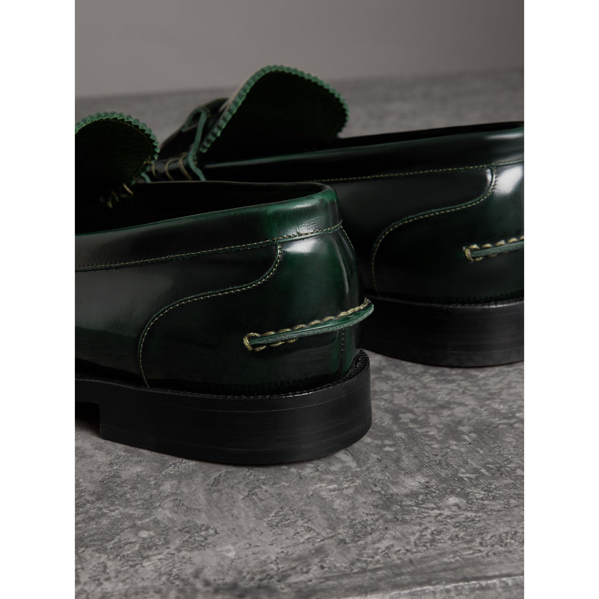 Kiltie Fringe Leather Loafers in Bottle Green - Men | Burberry - gallery image 2