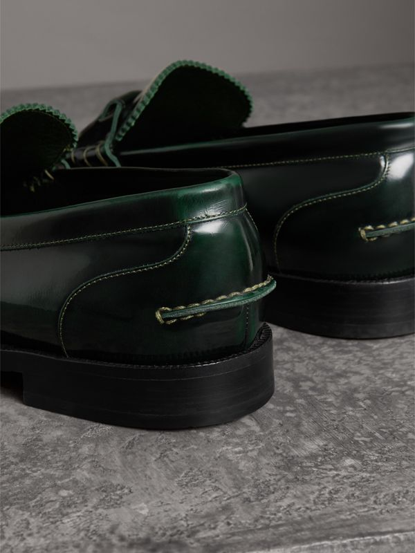 Kiltie Fringe Leather Loafers in Bottle Green - Men | Burberry - cell image 2